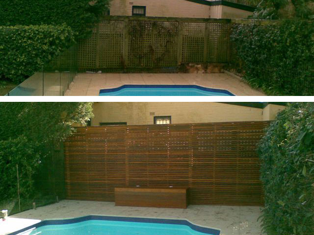 Photo gallery of outdoor timber renovations a grade for Privacy pool screen